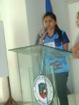Northern Iloilo Polytechnic State College Student Regene Babe Ruth Barba addresses the delegates.